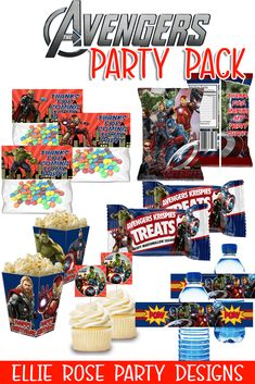 The Ultimate Avengers Party Printable Pack [INSTANT DOWNLOAD] Minion Party, Superhero Party, Avenger Cupcakes, Happy Birthday Template, Best Party Food, Avengers Birthday, Printable Designs, Party Packs, Party Printables