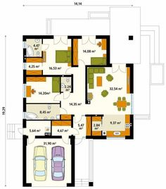 Paredes e pisos modernas por Biuro Projektów MTM Styl - domywstylu. The Plan, How To Plan, Craftsman Floor Plans, Indian House Plans, 2 Bedroom House Plans, One Story Homes, Dream Book, Indian Homes, Facade House