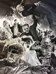 tremendous illustration by Alex Ross Frankenstein Bride Dracula Mummy Wolfman Gillman Invisible Man Vintage Goth, Horror Vintage, Retro Horror, Horror Icons, Weird Vintage, Classic Monster Movies, Classic Horror Movies, Classic Monsters, Alex Ross