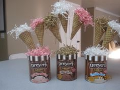 ice cream center pieces | Ice cream cone decorations with toppers labeling each of the toppings ...