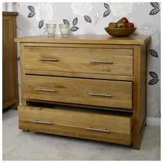 Solid Oak Chest Of Drawers | Small Light Oak Bedroom Furniture Mb1158