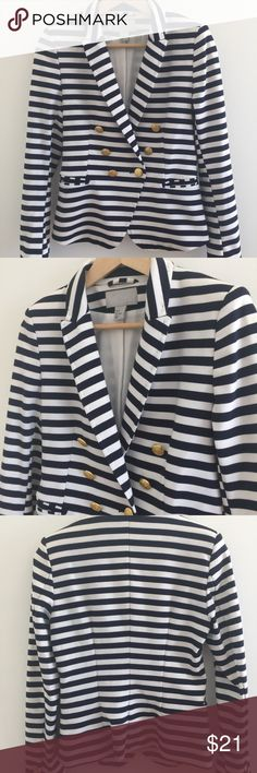 H&M nautical blazer Awesome striped h&m jacket. Slight stretch to the fabric. Hardly worn. Brass buttons and super chic. H&M Jackets & Coats Blazers