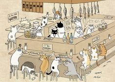 Cats at the such I bar tumbex - goropika.tumblr.com : catsbeaversandducks:Cute illus... (113163974578)