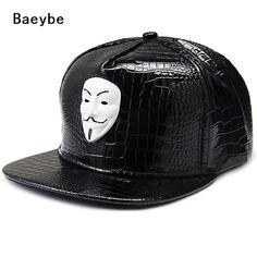 158bac50efa PU leather V For Vendette baseball cap V mask snapback adjustable hip hop  snapback men women