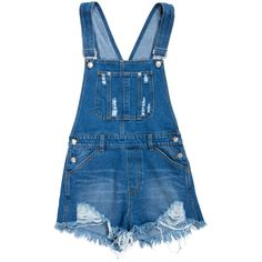 Cut Off Denim Short Overalls ($33) ❤ liked on Polyvore featuring jumpsuits, rompers, shorts, overalls, dresses, blue jumpsuit, cut-off, jump suit, bib overalls and blue bib overalls
