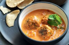 Bill Granger subs in these lamb kofta meatballs in curry sauce to his winter menu, subbing out staid spaghetti and meatballs.