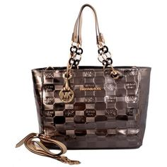 Michael Kors Logo Embossed Leather Large Bronze Totes