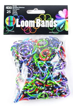 Stripped Colors Stretch Rubber Band Bracelet Loops with Connectors 525 Pcs. Buy now at: http://www.artcove.com/cgi-bin/fabricshop/gallery.cgi?Category=835