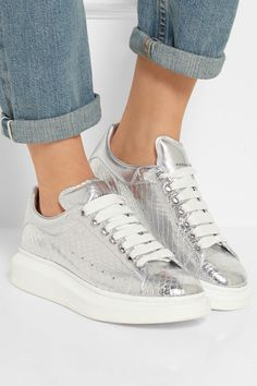 White rubber sole measures approximately 2 inches with a 1 inch platform  Silver snake and leather Lace-up front Ratsnake: Indonesia Made in Italy