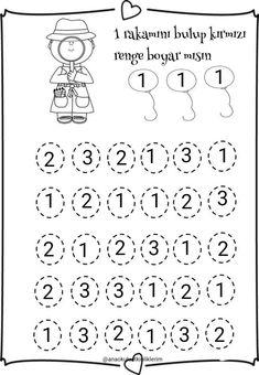 Numbers tracing worksheets 1 for kindergarten - Printable Coloring Pages For Kids Preschool Number Worksheets, Literacy Worksheets, Numbers Preschool, Math Literacy, Tracing Worksheets, Guided Math, Kindergarten Teachers, Kindergarten Activities, Preschool Activities