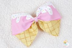 Ice Cream Hair Bow, Oversized Pink Barrette, Kawaii Hand Painted bow, Ice Cream Cone, Lolita Fashion, Cosplay, Fairy kei unique gift for her