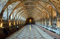 Antiquarium in Residenz München . This 216 feet (66 meters) long room is the museum's oldest and considered the largest Renaissance interior north of the Alps. This was initially built by Duke Albrecht V in the mid-1500s.