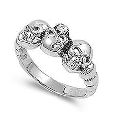 Sterling Silver Wedding & Engagement Ring Skulls Wedding Ring Band 9mm ( Size 6 to 13) Size 10 Double Accent http://www.amazon.com/dp/B007QS6JL8/ref=cm_sw_r_pi_dp_RxfRvb15VT7BF