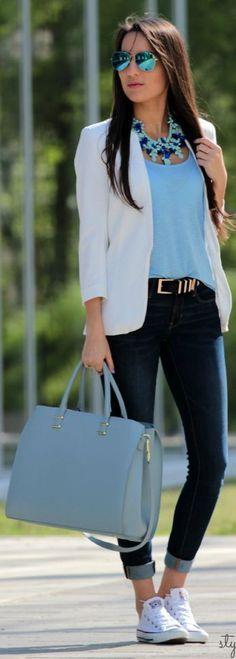 Image: Blue top, jeans,white blazer,blue bag.