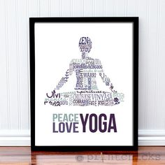 Yoga Print - Peace, Love, Yoga - Yoga Gift, Personalized Yoga Typography Wall Art Print - 11 x 14 on Etsy, $23.05 CAD