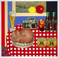 Still Life #12 -1962 - Tom Wesselmann  Born: Cincinnati, Ohio 1931  acrylic and collage of fabric, photogravure, metal, etc. on fiberboard......Artist depicts space using vertical position on the picture plane.