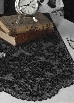 Heritage Black   Damask Lace Table Runner