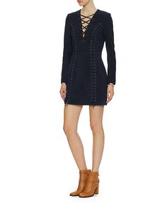 Intermix Isaac Lace Up Suede Dress
