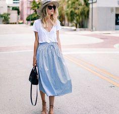 White v neck tee and chambray midi skirt