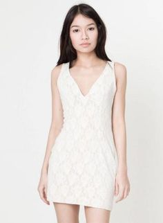 V-Neck Fitted Mini Dress with White Lace Over Nude Lining,  Dress, lace overlay  v-neck, Chic