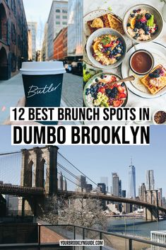 All the best spots for brunch in DUMBO and the best dishes to get at each of them including all their DUMBO brunch specials! Dumbo New York, Dumbo Nyc, Brooklyn Dumbo, Brooklyn Food, Brooklyn Restaurant, Brooklyn New York, Brunch Nyc, Brunch Spots, Brooklyn Things To Do