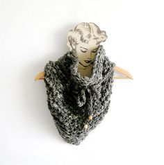 Grey Chunky Scarf  Knitted Cowl Triangular by callmemimi on Etsy, €50.00
