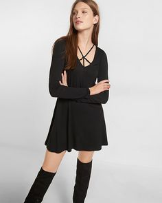 strappy long sleeve trapeze dress