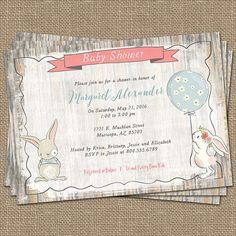 Bunny baby shower invitation, rustic, shabby chic ,digital, printable file
