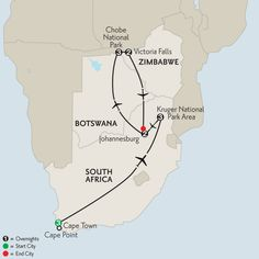 South African Sojourn with Chobe National Park & Victoria Falls 2016 map
