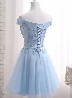d5e5e0301 Vestido A media pierna cordón encaje fuera del hombro esponjoso tutú de tul  hinchable novia azul