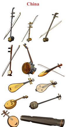 CHINA I (Left/Right, Up/Down) 1.-ERHU: chordophone / bowed string instrument. 2.-Jing Hu: chordophone / bowed string instrument  3.- Zhuiqin: chordophone / bowed string instrument 4.- banhu: chordophone / Bowed string instrument 5.- Gefu: chordophone / Bowed string  instrument 6.- Niutuiqin: chordophone / bowed string instrument 7.- Pipa: chordophone / lute family 8.- Liuqin: chordophone / lute family 9.- Ruanxian: chordophone / lute family 10.- Sanxian: chordophone / lute family 11…