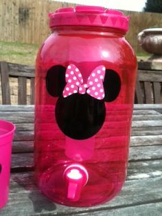 Minnie Mouse Party  Minnie Mouse beverage dispenser--cute idea