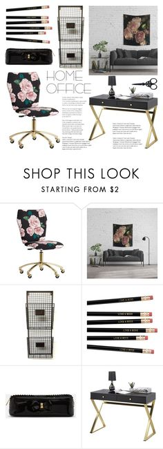Home Office - Roses by artbyjwp on Polyvore featuring interior, interiors, interior design, home, home decor, interior decorating, PBteen, Ted Baker, The BrowGal and home office
