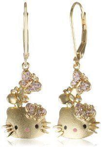 "Women's Fashion Jewelry: Hello Kitty by Simmons Jewelry Co. ""Butterfly Kitty"" Gold Plated with Swarovski Outline Lever Back Drop Earrings Hello Kitty Favors, Hello Kitty Items, Hello Kitty House, Here Kitty Kitty, Hello Kitty Merchandise, Hello Sanrio, Hello Kitty Jewelry, Hello Kitty Collection, Fashion Jewelry"