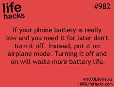 Cell phone battery life hack