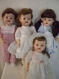 My cousins and sister and I got these kinds of dolls for Christmas; our moms made lots of clothes for them, too. Old Dolls, Antique Dolls, Vintage Dolls, Pretty Dolls, Beautiful Dolls, Doll Toys, Baby Dolls, Dolls Prams, Doll Display
