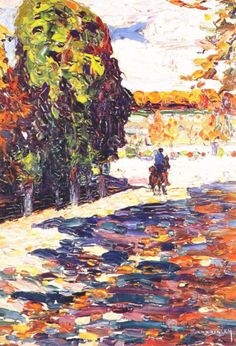 Painter Wassily Kandinsky. Painting. Park of St. Cloud with horseman. 1906 year
