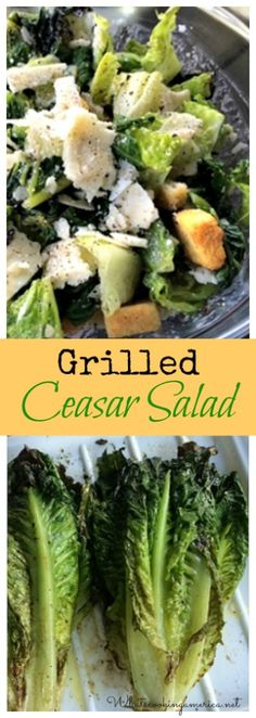 A salad you can grill! Grilling adds a wonderful smoky flavor variation when the Romaine lettuce is grilled. Healthy Salad Recipes, Whole Food Recipes, Grilled Caesar Salad Recipe, Grilling Recipes, Cooking Recipes, Clean Eating, Healthy Eating, Soup And Salad, Meals