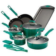 Rachael Ray Brights 14-pc. Nonstick Cookware Set, Green
