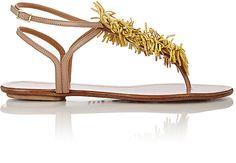 "Aquazzura Women's ""Wild Thing"" T-Strap Sandals-YELLOW ($229)"
