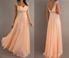 A Line Sweetheart Long Chiffon Prom Dresses, Quartz beads handmade dress Homecoming Dresses Bow dress