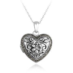 Glitzy Rocks Sterling Silver Marcasite Heart Floral Locket Necklace | Overstock™ Shopping - Top Rated Glitzy Rocks Gemstone Necklaces