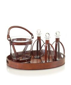 Decanters, Ice Bucket and Tray Set