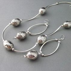 Necklace Earrings Large Silver Oval Beads Tubes Outrageous Statement | TheSingingBeader - Jewelry on ArtFire