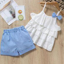 Ropa de niñas trajes 2019 nuevo estilo de verano de los niños arco encaje Sling ropa a rayas pantalones cortos conjuntos para 3-7y niños sin mangas conjuntos