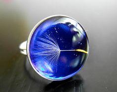 Blue dandelion ring in high quality resin by GrolJewellery on Etsy