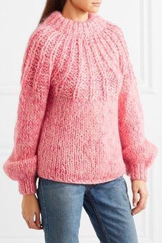 Shop on-sale GANNI Julliard tie-back marled wool and mohair-blend sweater. Browse other discount designer Heavy Knit & more on The Most Fashionable Fashion Outlet, THE OUTNET. Mohair Sweater, Pink Sweater, Crochet Baby Boots, Sweater Sale, Fashion Outlet, Pretty Outfits, Wool Blend, Knitwear, Jumpers
