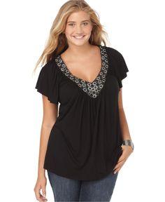 Soprano Plus Size Top, Short Sleeve Embellished V-Neck - Plus Size Tops - Plus Sizes - Macy's