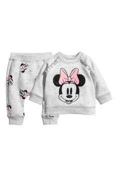 Sweatshirt ve Pantolon - Açık gri/Minnie Mouse - | H&M TR 1