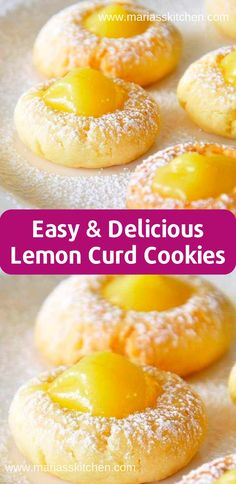 Easy Lemon Curd Cookies Recipe - Maria's Kitchen - - I bоught lemon curd with no іdеа whаt I асtuаllу wаntеd tо do with it. Whеn I ѕаw thіѕ on …. Lemon Curd Dessert, Lemon Curd Cookies Recipe, Easy Lemon Curd, Lemon Dessert Recipes, Curd Recipe, Köstliche Desserts, Easy Cookie Recipes, Sweet Recipes, Delicious Desserts